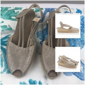 Chico's Scylla Espadrille Slingback Wedge Shoes